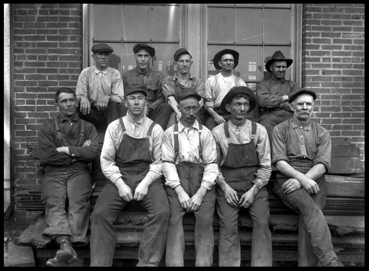 Factory Workers c.1920 from original 4x5 glass plate negative