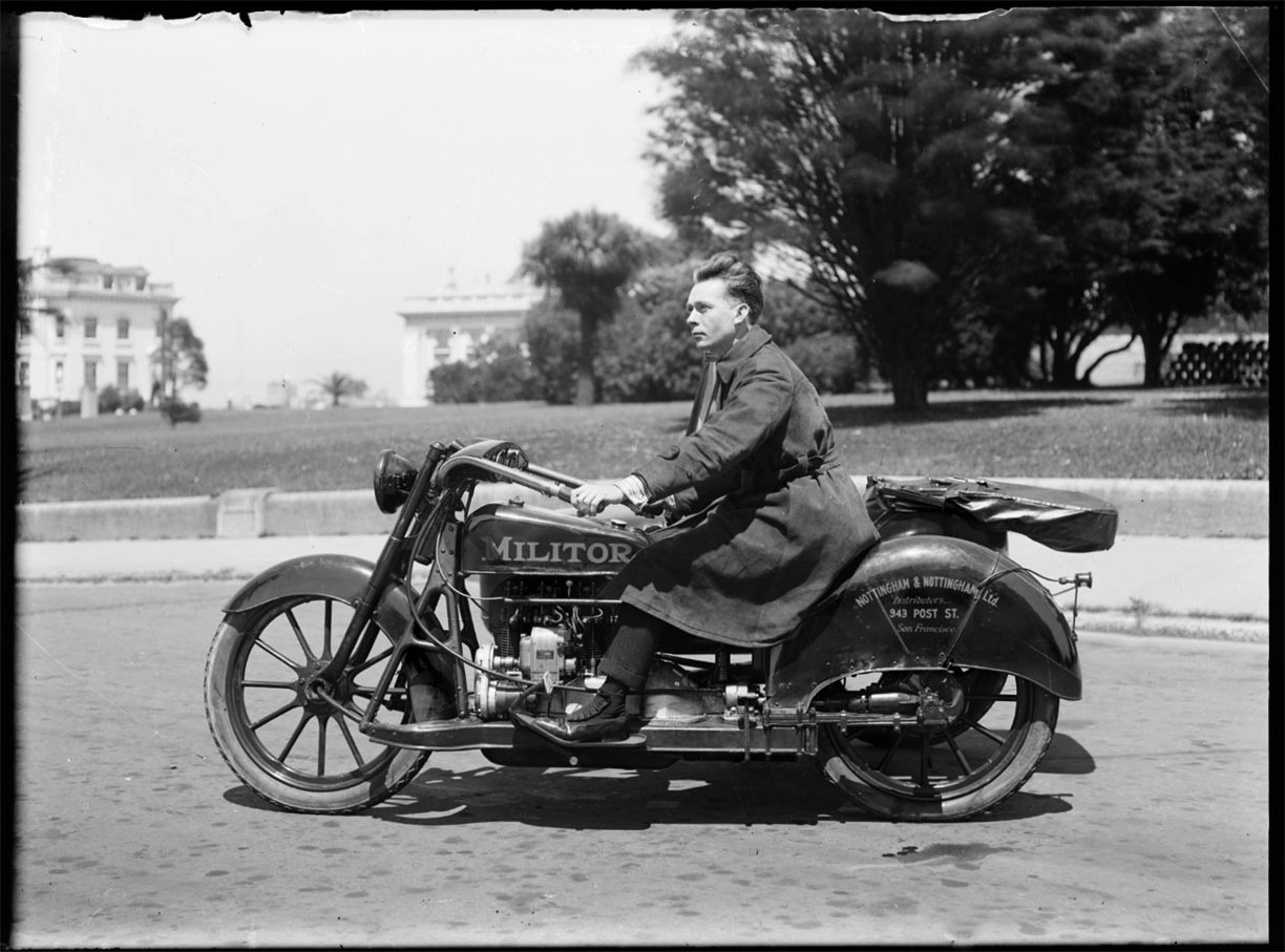 Postman on Militor Motorcycle c.1920 glass plate negative