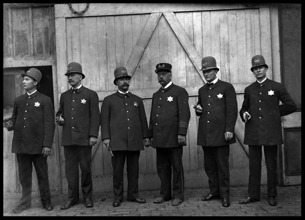 Police Officers Against Barn Door c.1912 from original 4x5 glass plate negative