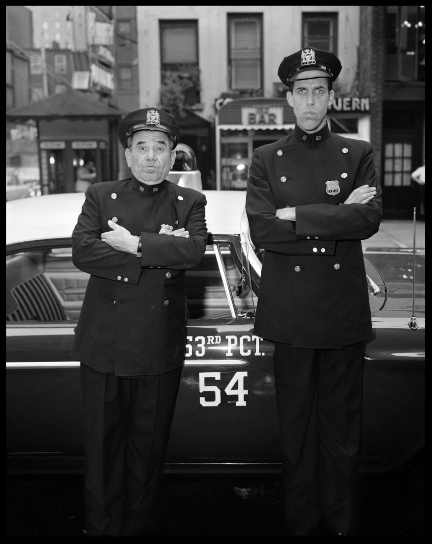 Joe E Ross and Fred Gwynne as NYPD Officers Car 54 Where Are You? c.1961 from original 4x5 negative