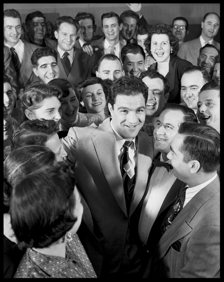 Rocky Marciano in crowd c.1952 from original 4x5 negative