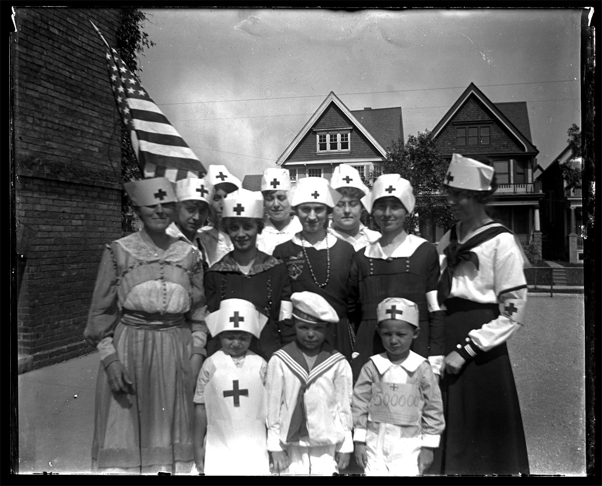 The Red Cross Volunteers C.1910 from original 5x7 glass plate negative