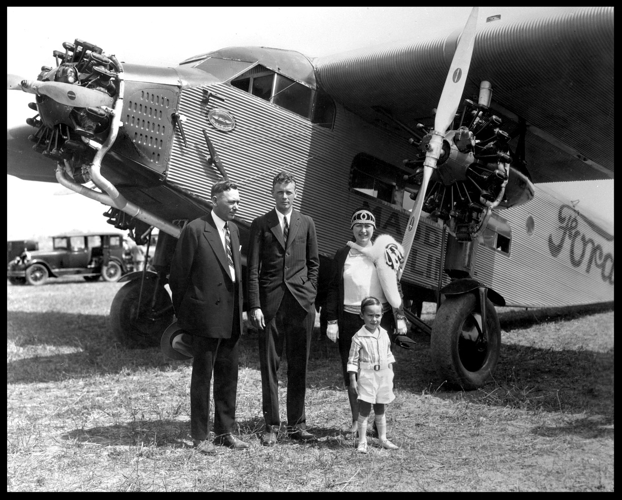 Charles Lindbergh Delivers Plane to Ford Plant c.1928 from original 4x5 negative
