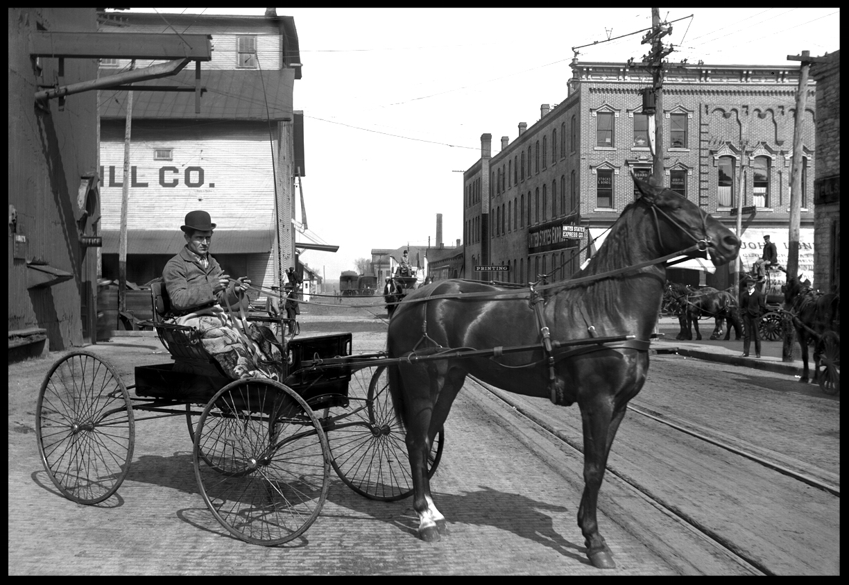 Horse & Carriage c.1920 from original 5x7 glass plate negative