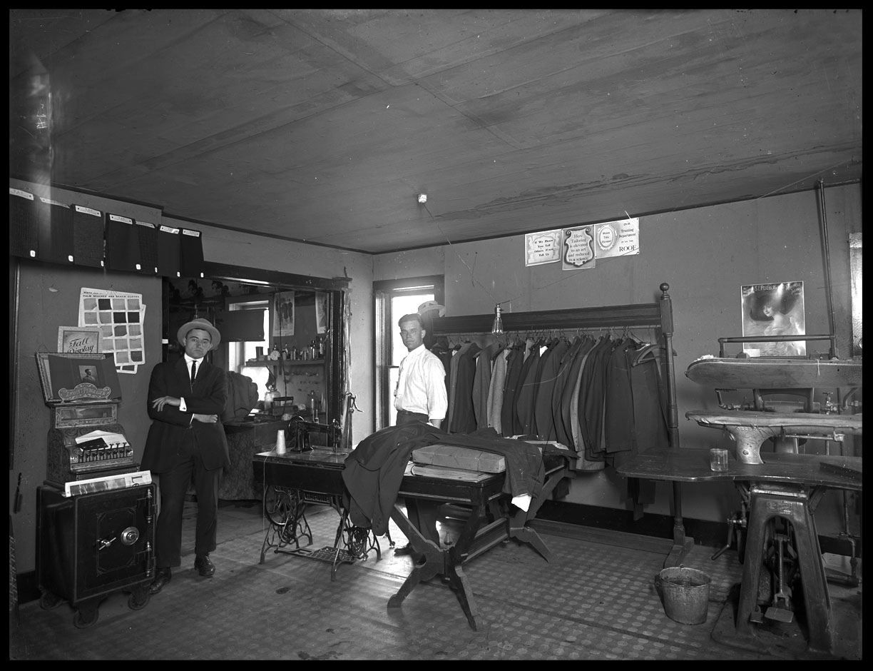 Tailor Shop c.1910 from original 8x10 glass plate negative