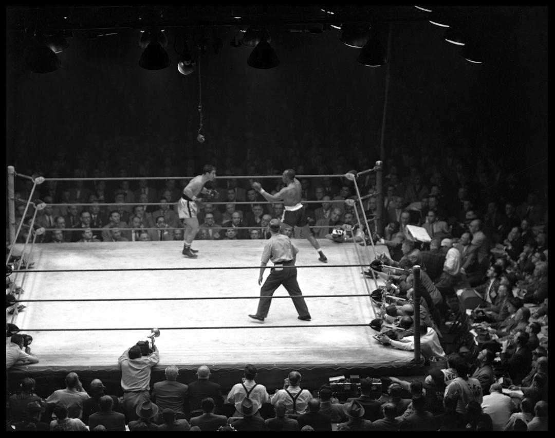 Rocky Marciano vs Jersey Joe Walcott c.1952 from original 4x5 negative