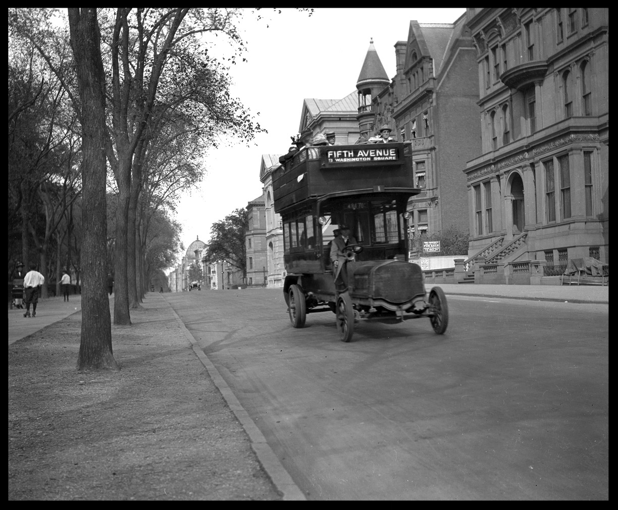 5th Ave Trolly Bus c.1915 from original 4x5 negative