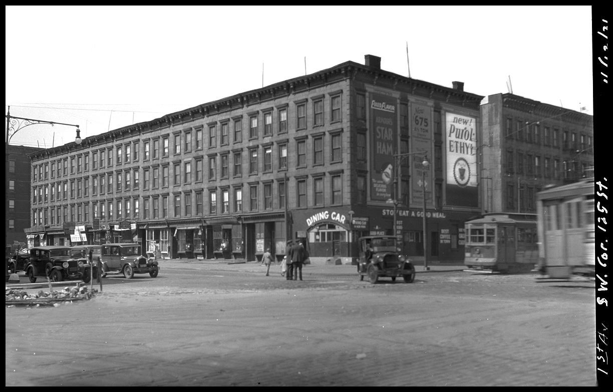 East Harlem, NYC. 125th St & 1st Ave c.1931 from the original 4x5 negative
