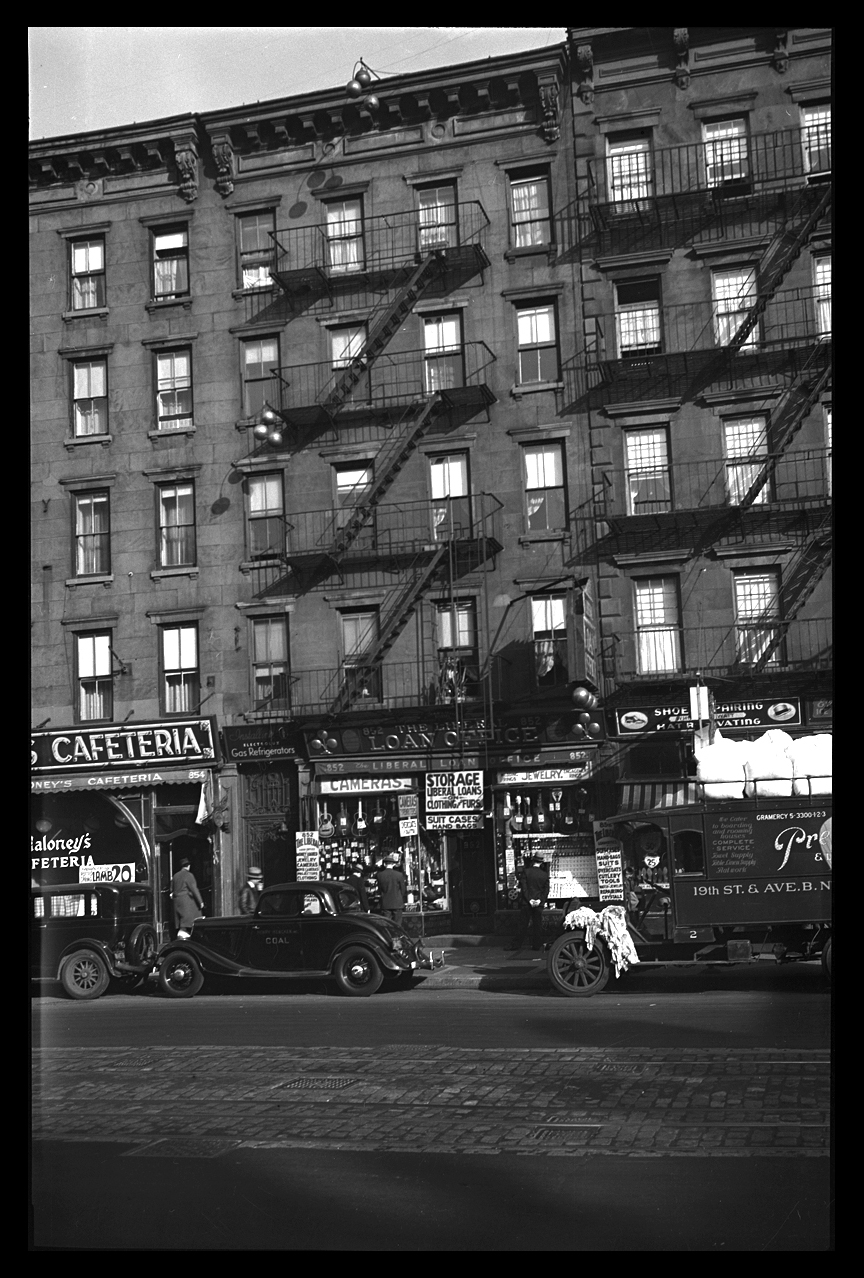 Hell's Kitchen, 8th Ave at 51 & 52nd St's c.1930 from the original 4x5 negative