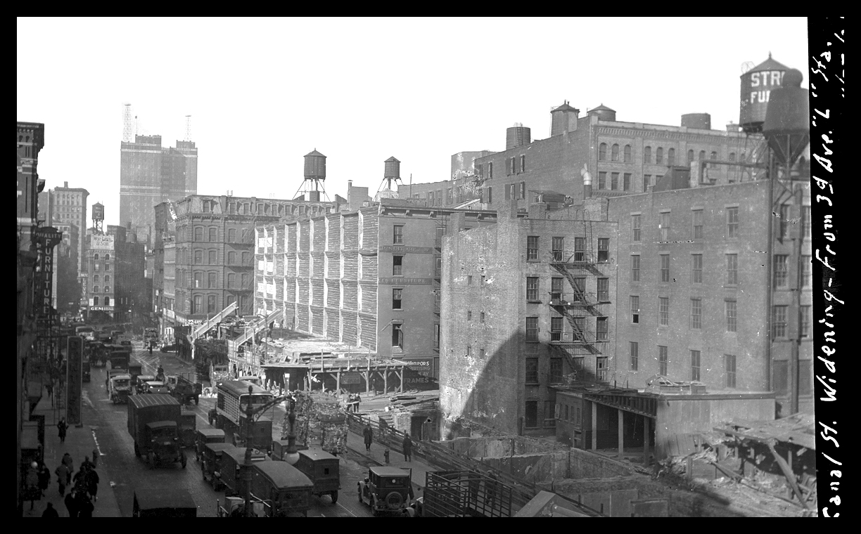 Canal St at 3rd Ave c.1928 from the original 4x5 negative