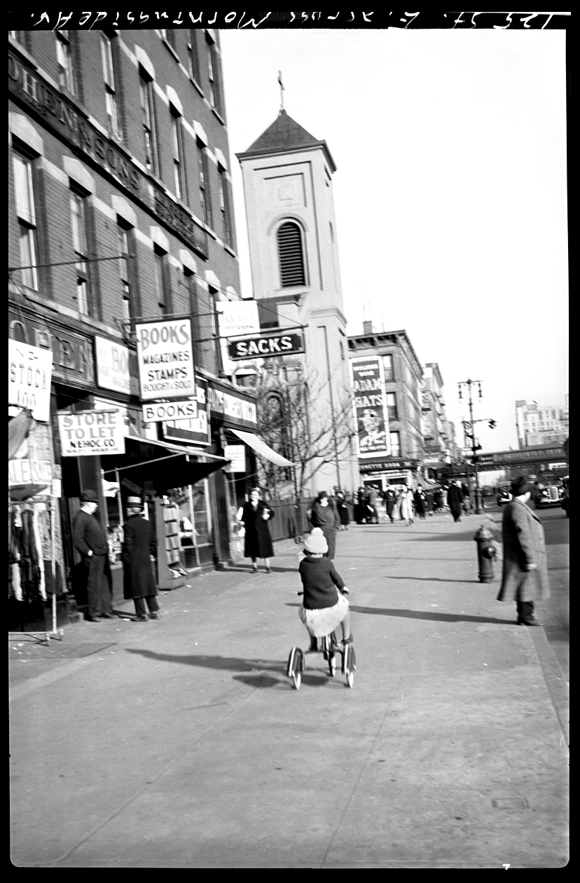 Harlem NYC, 129th St at Morningside Ave c.1929 from original 4x5 negative