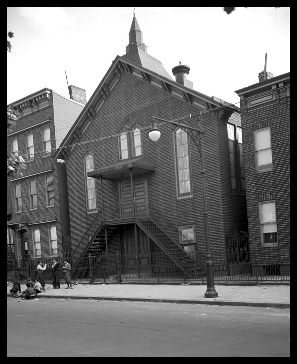 Mosque on Power St, Williamsburg Brooklyn c.1932 from original 4x5 negative