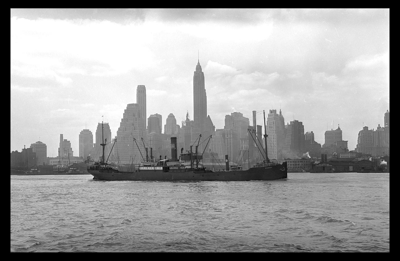 Ship & NYC Skyline c.1931 from original 4x5 negative