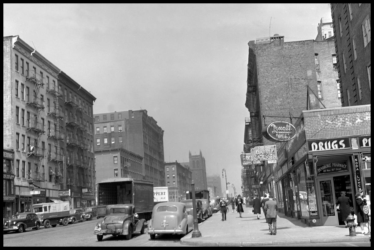 9th Ave at 55th St Manhattan c.1941 from original 4x5 negative