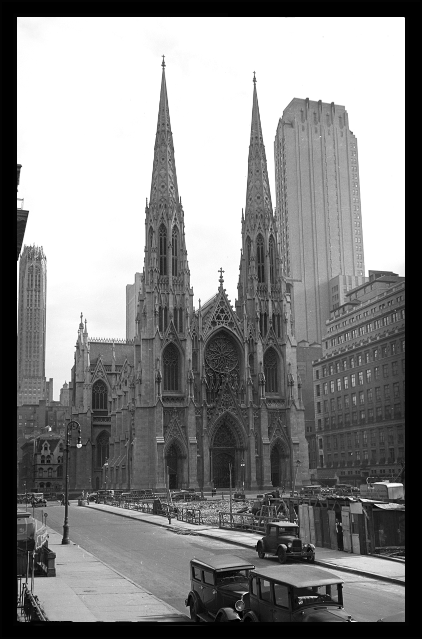 St.Patricks Cathedral & the Construction of Rockefeller Center c.1932 from original 4x5 negative