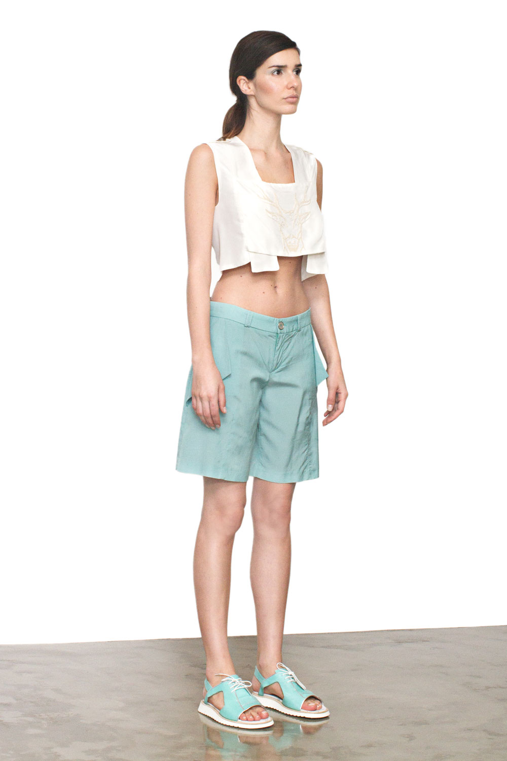 Green Shorts   One available size 36. Original Price 100€ | Discount Price 40€ Ref. LCSS15S34  *shoes are also available for sale