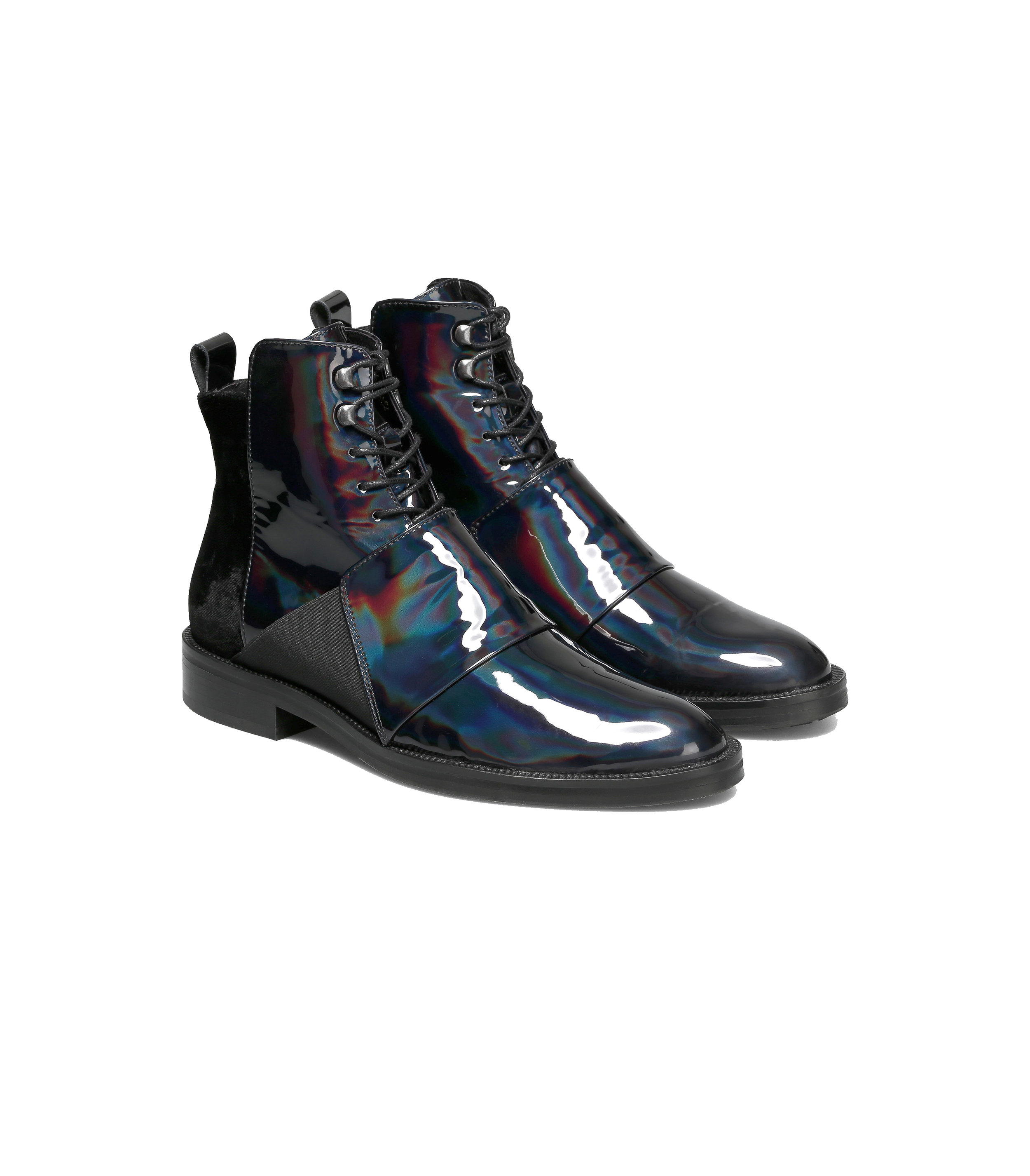 Black vinyl Velvet boots  one available size 44 Original Price 249€ | Discount Price 84€ Ref. LCFW17HSo1  *Available in also in blue vinyl velvet