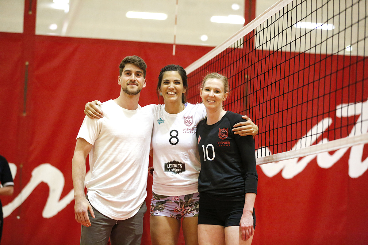 Members of the Men's Canadian National did the 'opening serve' on our Canadian themed night to kick-off that night's matches. Shown here is (LtoR)  TJ Sanders  with former National Team member Jaimie Thibeault and 1st round draft pick Tiffany Proudfoot (former JR National Team member)