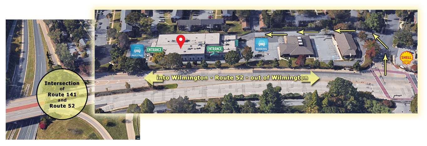 Directions:  From Kennett Pike (Route 52), turn at the Shell Gas Station. Then, make an IMMEDIATE left into the office complex (BEFORE Greenville Place Apartments). Pass two red-brick buildings to get to Building 3704, which is white.   Parking : If you park in front of the building, walk towards the left (Route 52 side) for a general access door (before the Robert Cris Salon entrance). You may also take the driveway on the right around to park in the back of the building.   Once inside : Have a seat in the lobby and your trainer will find you. Restrooms are located in the center of the hallway, across from our Suite (#350). We do have a changing room within the Suite for your convenience.
