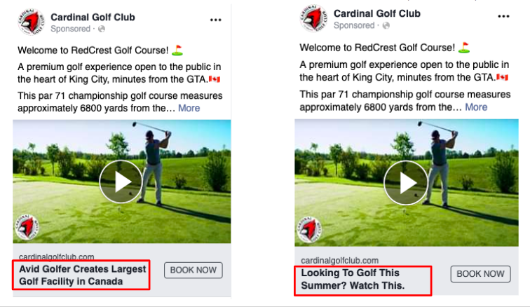 """Cardinal Golf Club: Testing Different Headlines with a """"Book Now"""" Button for Tee Times."""