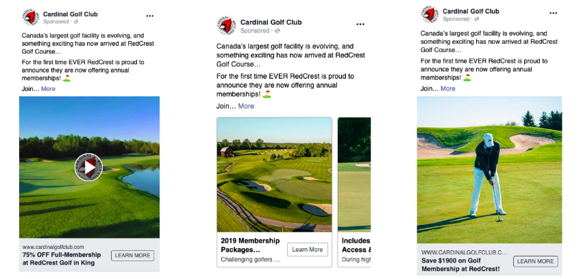 """Cardinal Golf Club: Testing Different Types of Ads, with a """"Learn More"""" Button for Memberships."""