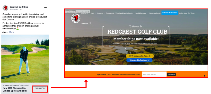 """Cardinal Golf Club: Sales Ads Landing Page After Clicked on """"Learn More"""" Button to Memberships Page."""