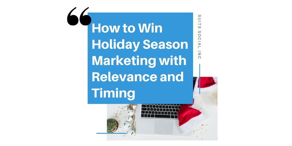 It is one of the best times of the year for businesses! The holidays are just around the corner and retailers can benefit greatly by consumers this season! To ensure you are maximizing your sales for the end of the fourth quarter this holiday season relevance in your social media marketing and perfect timing is essential. Watch Suits Social CEO Darren Cabral discuss why relevance and timing are crucial to your holiday social media marketing plan.