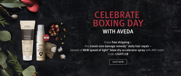 Aveda demonstrates a great value add technique to their Boxing Day promotion to entice consumers to shop with them by adding free shipping and travel size products when they purchase regular priced products.