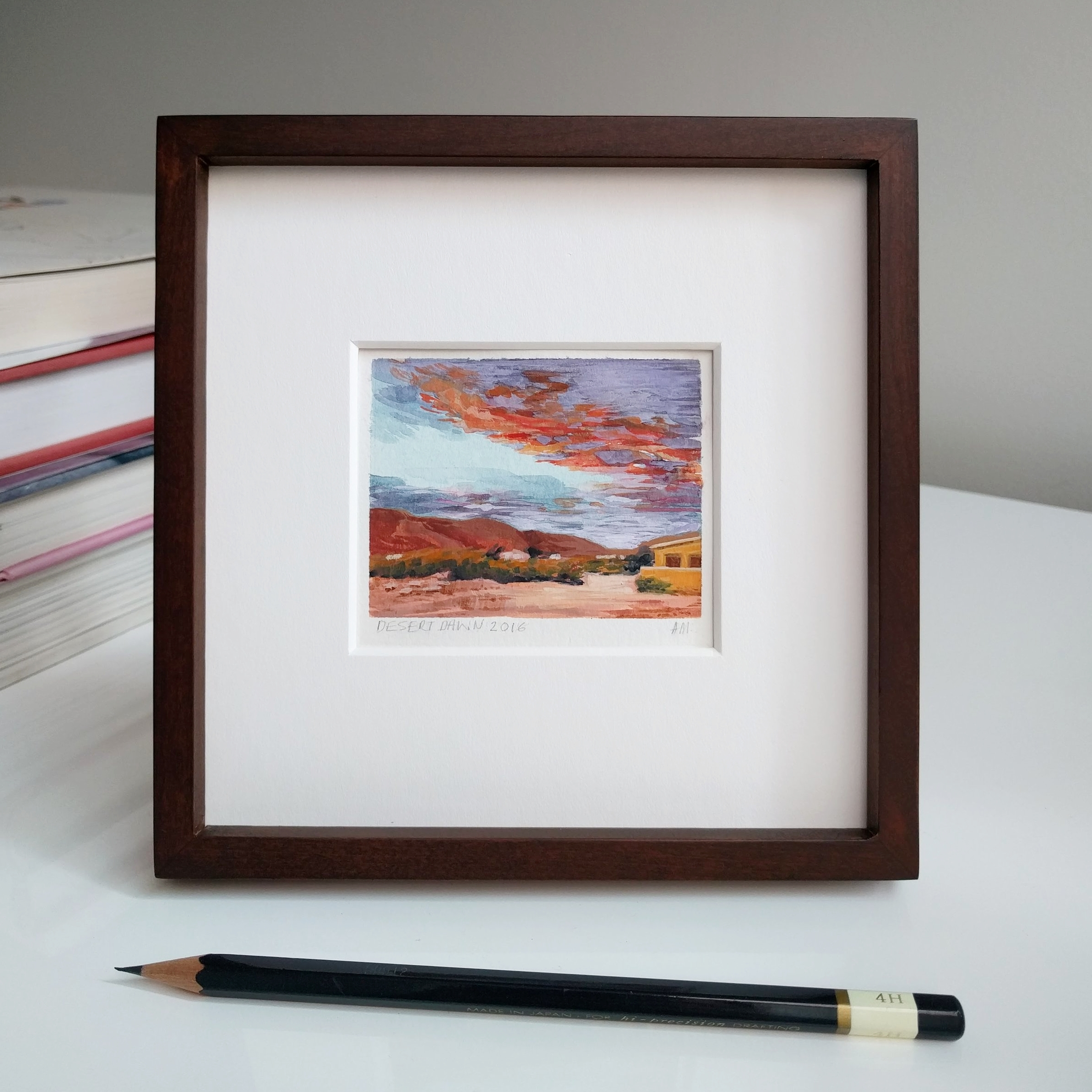 My Small Paintings miniature framed watercolour tiny art of pink sunset in the California Desert 29 Palms Inn