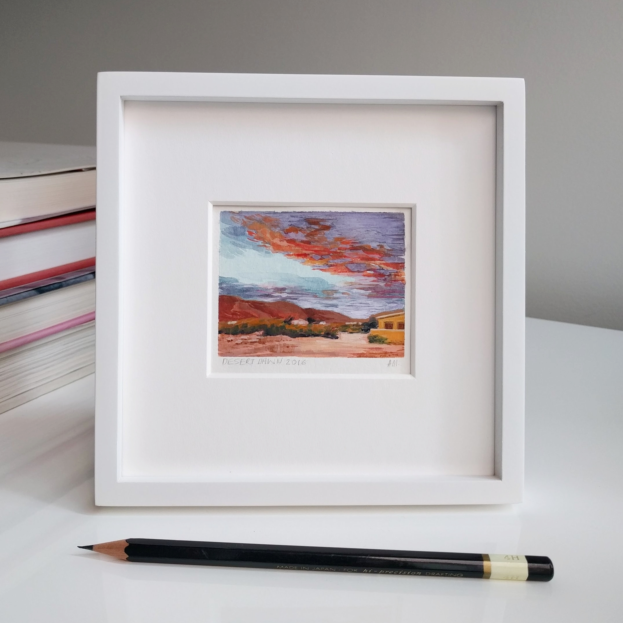 My Small Paintings miniature watercolour framed tiny art of pink sunset in the California Desert 29 Palms Inn