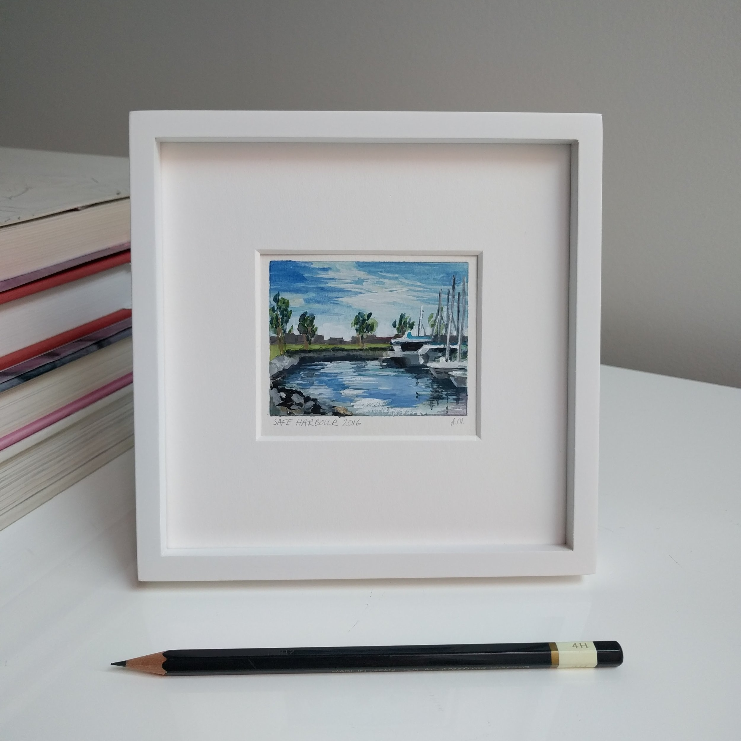 small miniature tiny art plein air watercolour framed painting of sailing yachts in San Diego Bay marina