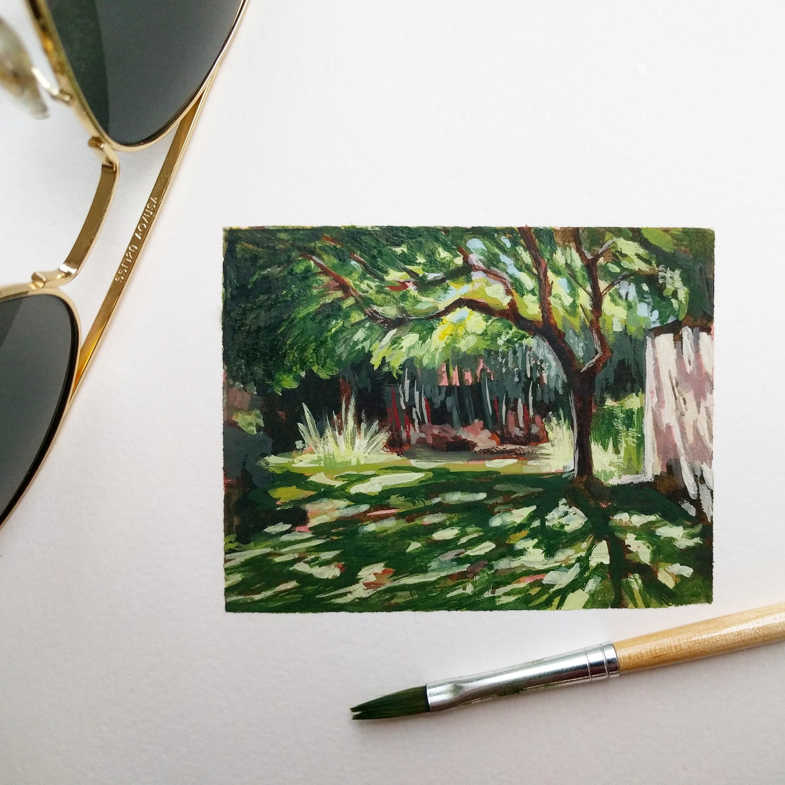 My Small paintings tiny miniature watercolour plein air painting 'Shelter' of shady tree with dappled sunlight shadows sunny garden California summertime - sketchbook view