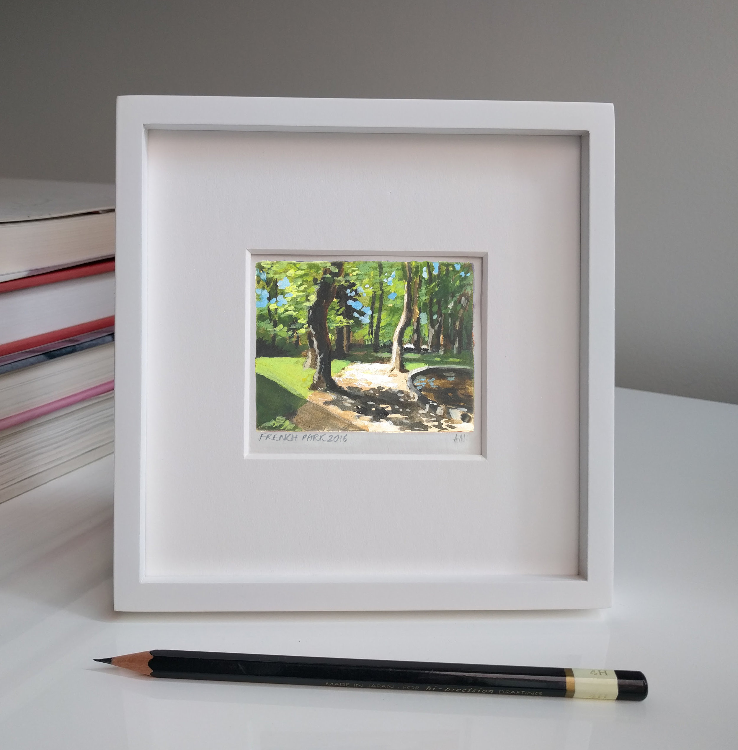 My Small Paintings miniature framed watercolour tiny art of sunlight through trees in shady garden South of France