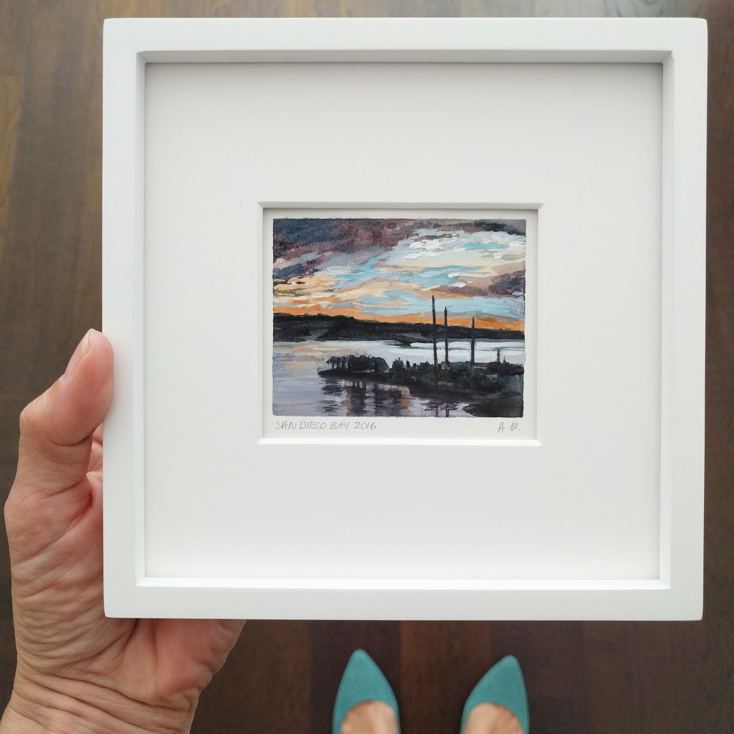 My Small Paintings framed miniature watercolour tiny art of sunset sky over yachts in harbour San Diego Bay