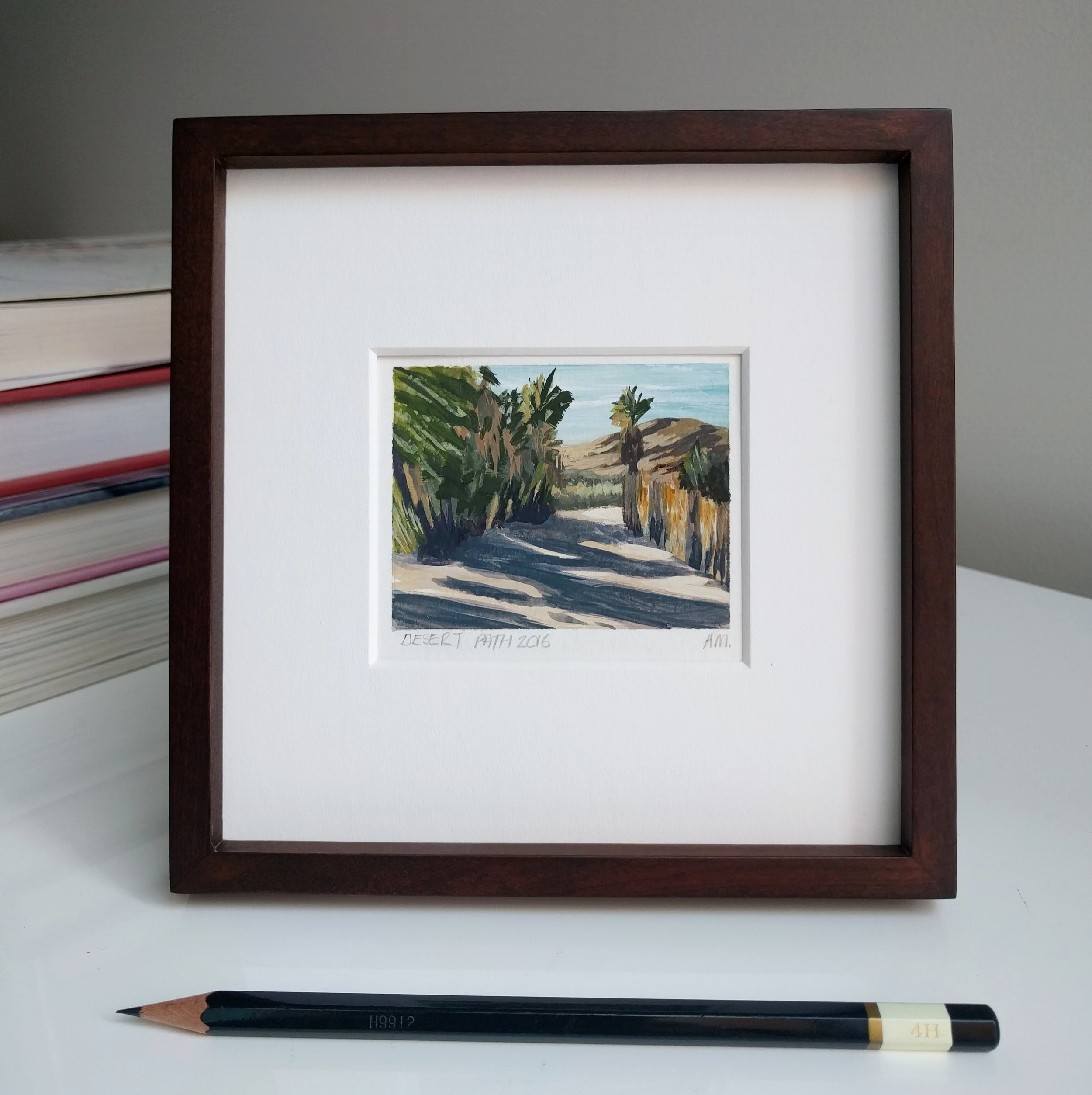 My Small Paintings framed miniature watercolour tiny art of palm tree-lined path at sunset in the California Desert 29 Palms Inn