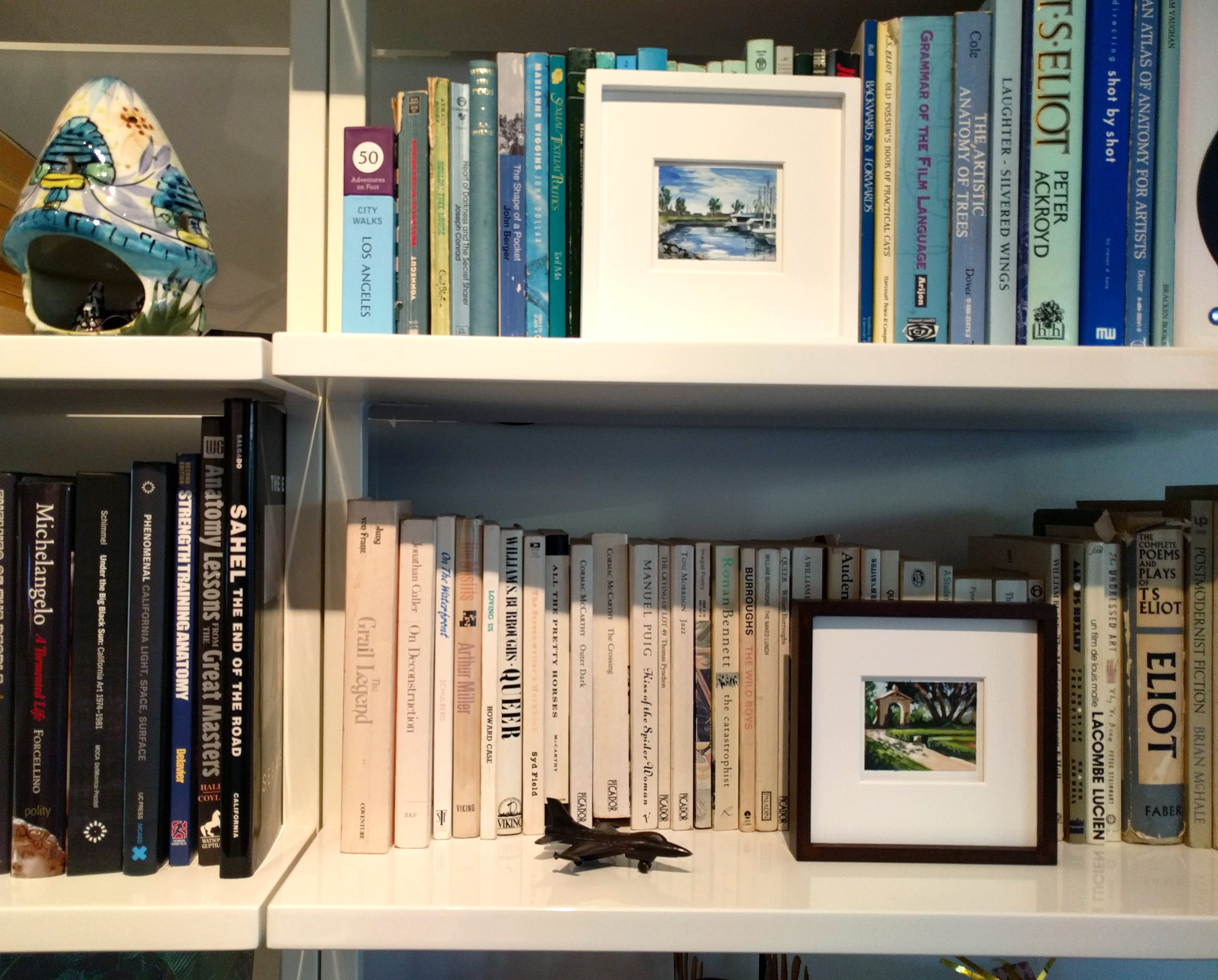 My Small Paintings miniature tiny art plein air watercolour painting of secret walled summer garden in Balboa Park San Diego California - The perfect size paintings for a bookcase