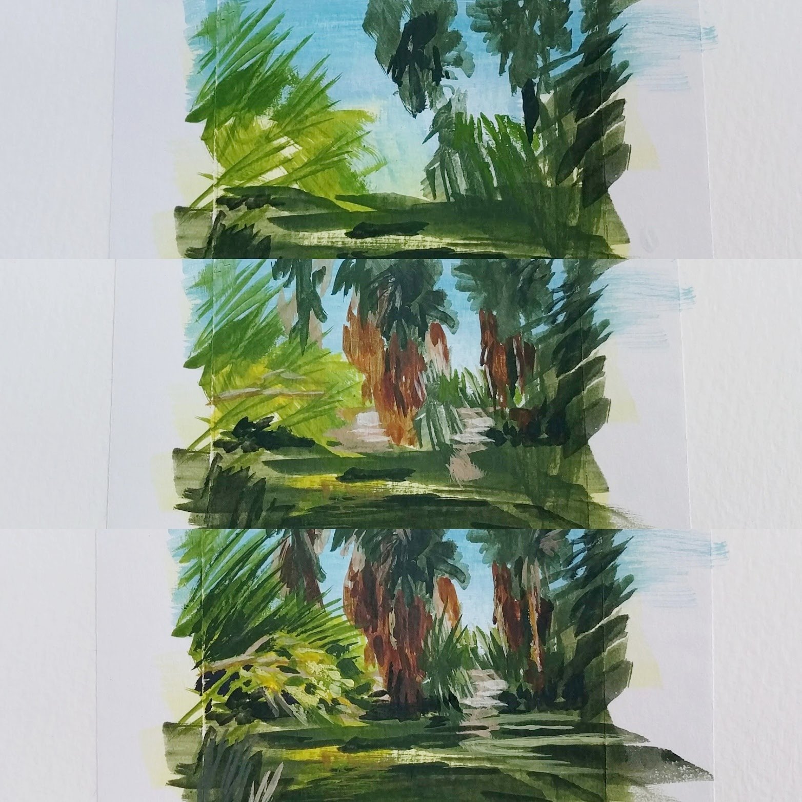 My Small Paintings miniature tiny art plein air watercolour painting of desert oasis with palm trees in 29 Palms Inn California - work in progress shot of three stages of the painting