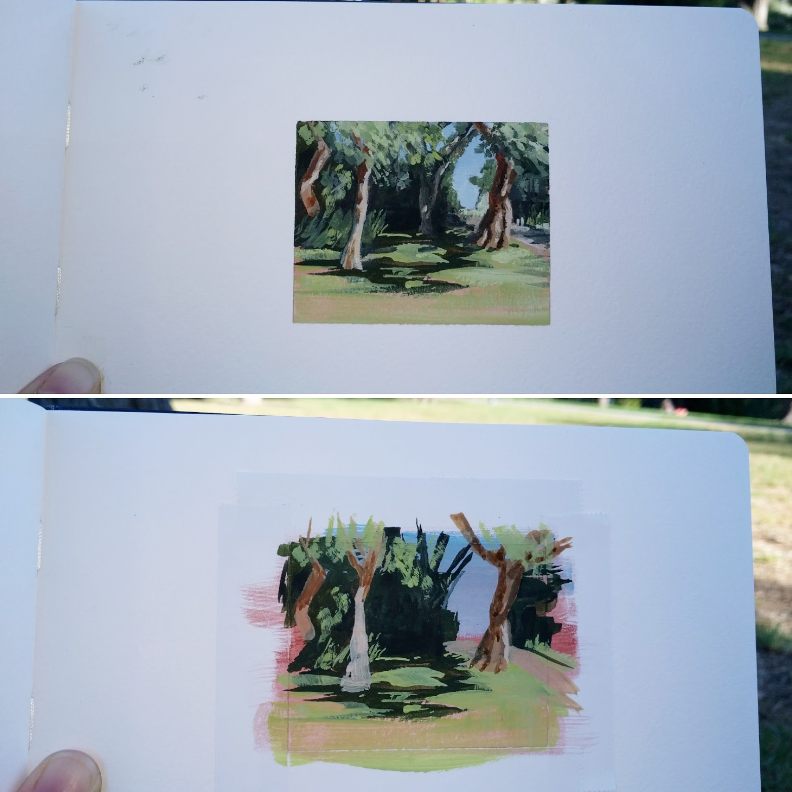 My Small Paintings framed miniature watercolour tiny art of shade trees in summer garden California - work in progress view