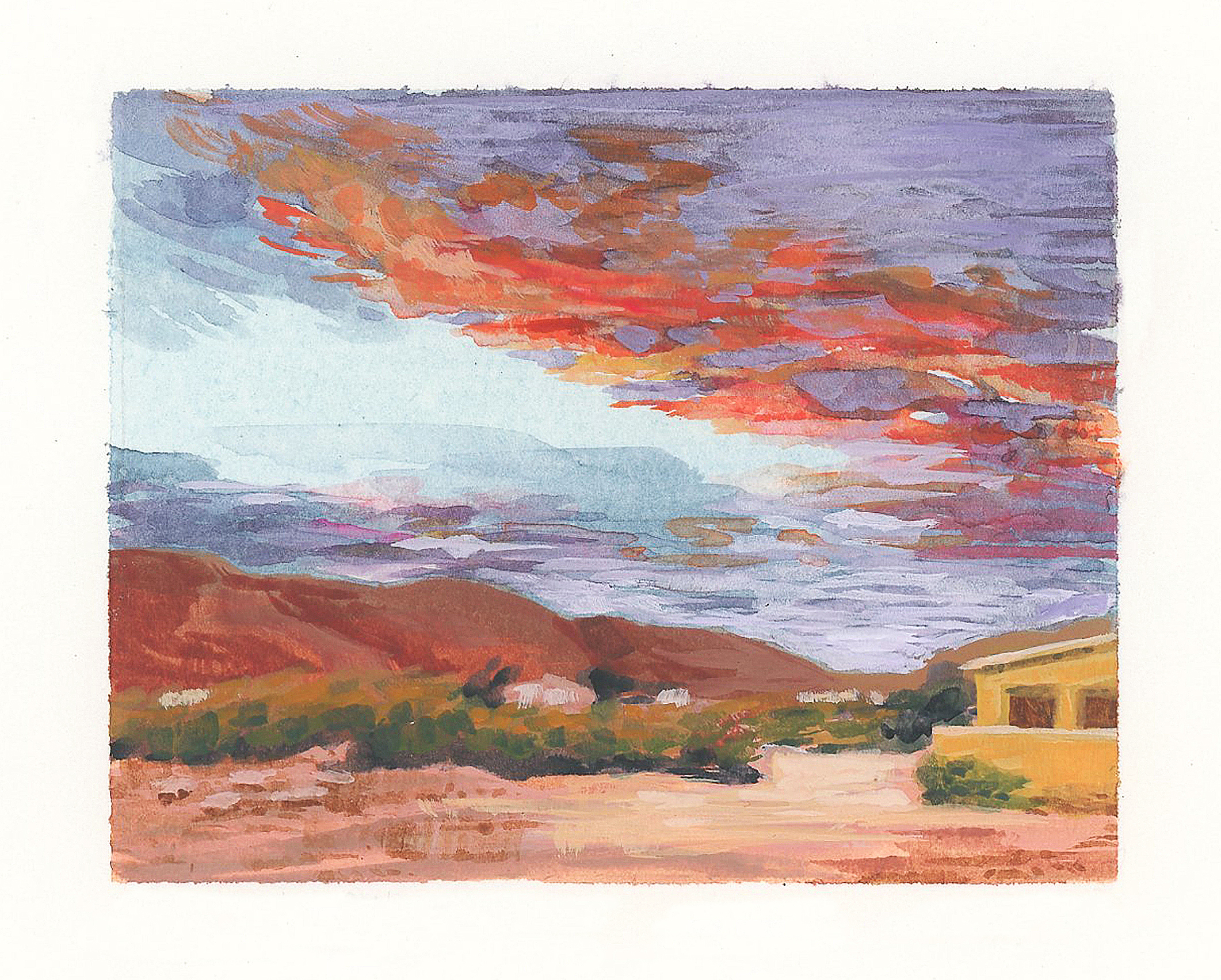 My Small Paintings miniature watercolour tiny art of pink sunset in the California Desert 29 Palms Inn