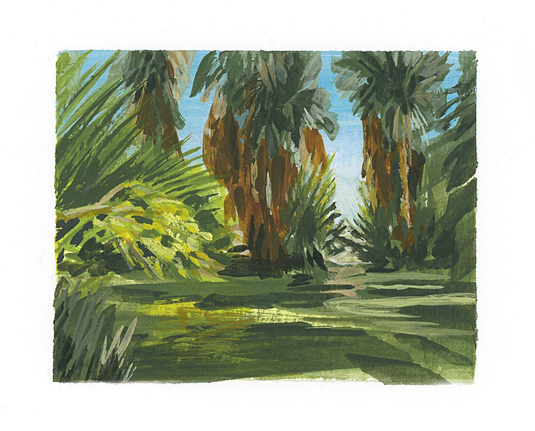 My Small Paintings miniature tiny art plein air framed watercolour painting of desert oasis with palm trees in 29 Palms Inn California