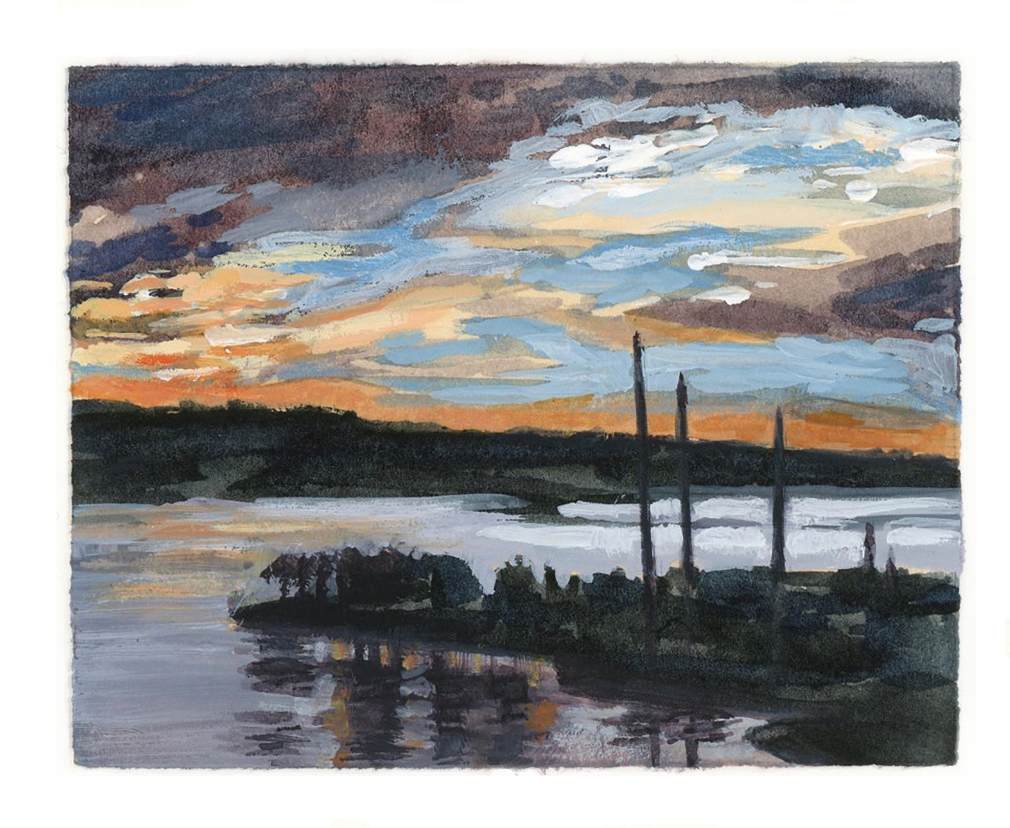 My Small Paintings miniature watercolour tiny art of sunset over yachts in harbour San Diego Bay