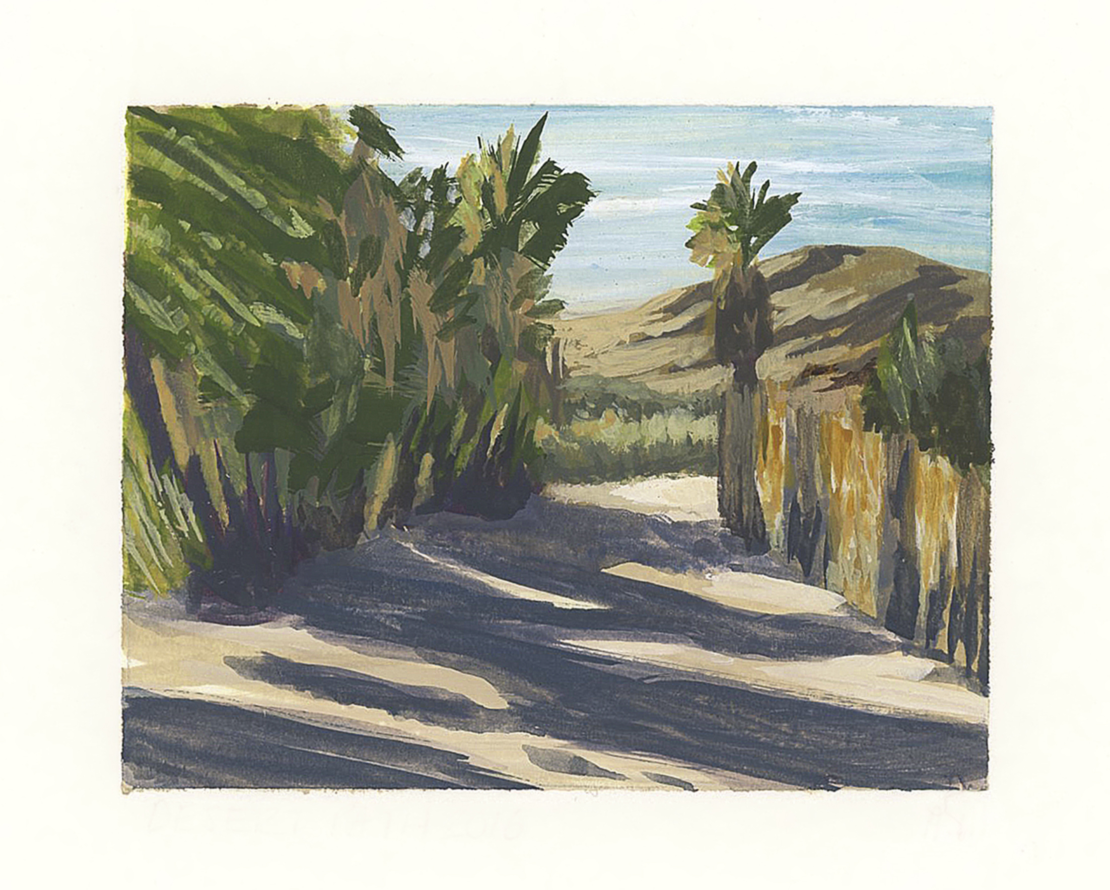 My Small Paintings miniature framed watercolour tiny art of palm tree-lined path at sunset in the California Desert 29 Palms Inn