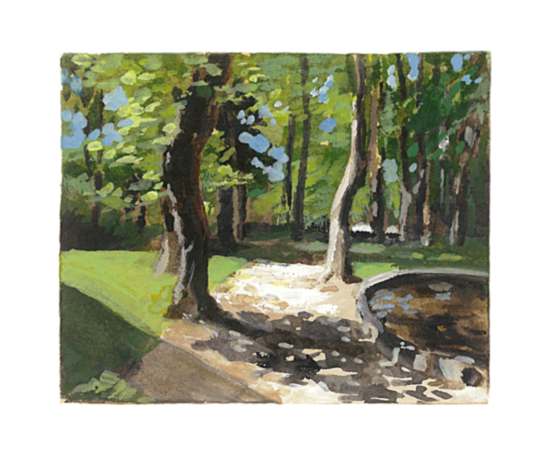 French Park - My Small Paintings miniature watercolour tiny art of sunlit trees
