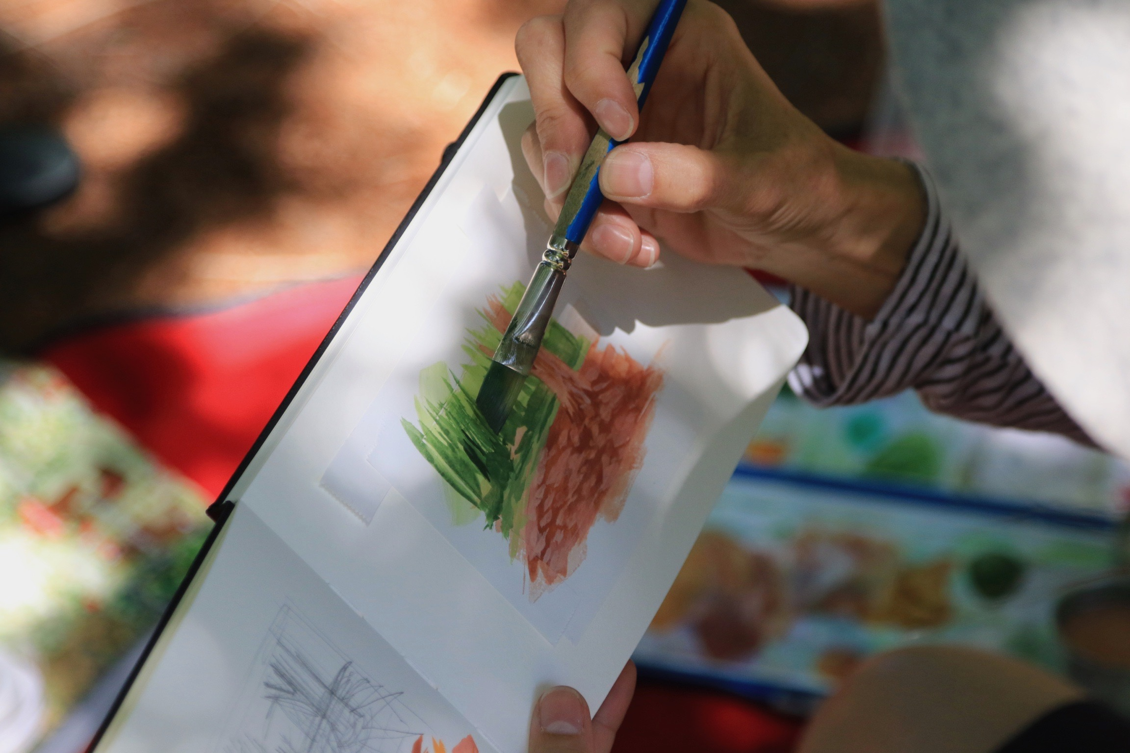 My Small paintings artist Amanda Mears painting plein air tiny watercolour art at the Huntington Gardens, CA