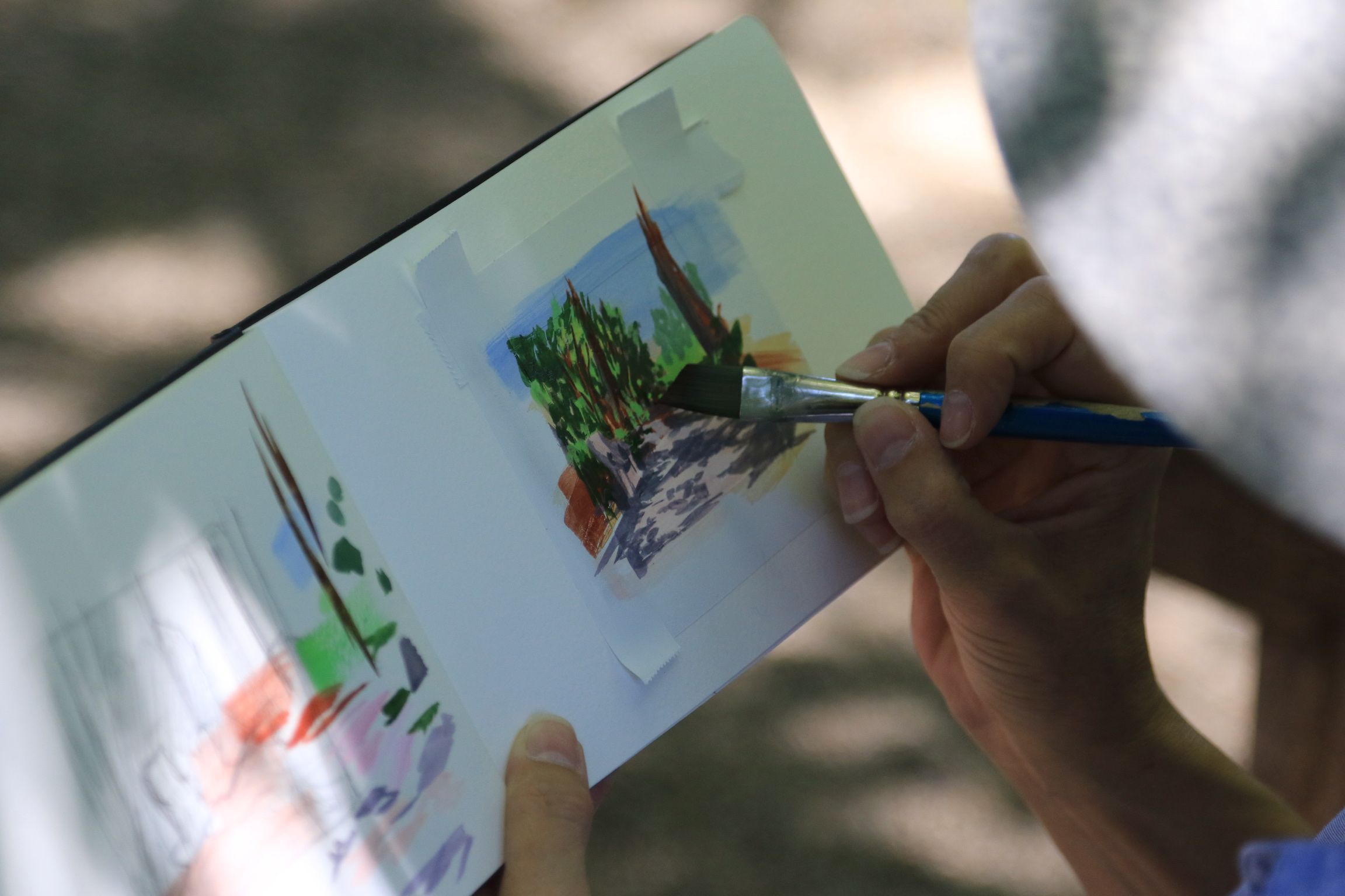 My Small Paintings sketchbook view of miniature watercolour tiny art of dappled path at the Huntington Gardens