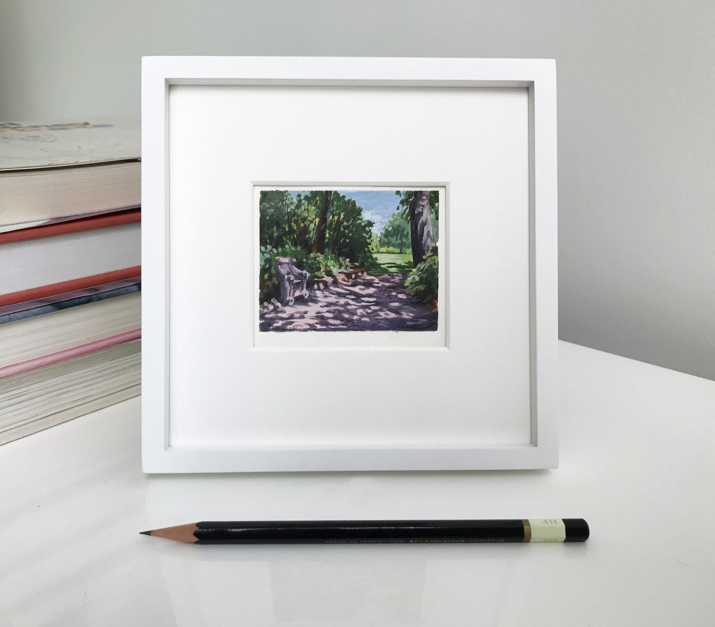 My Small Paintings framed miniature watercolour tiny art of dappled path at the Huntington Gardens