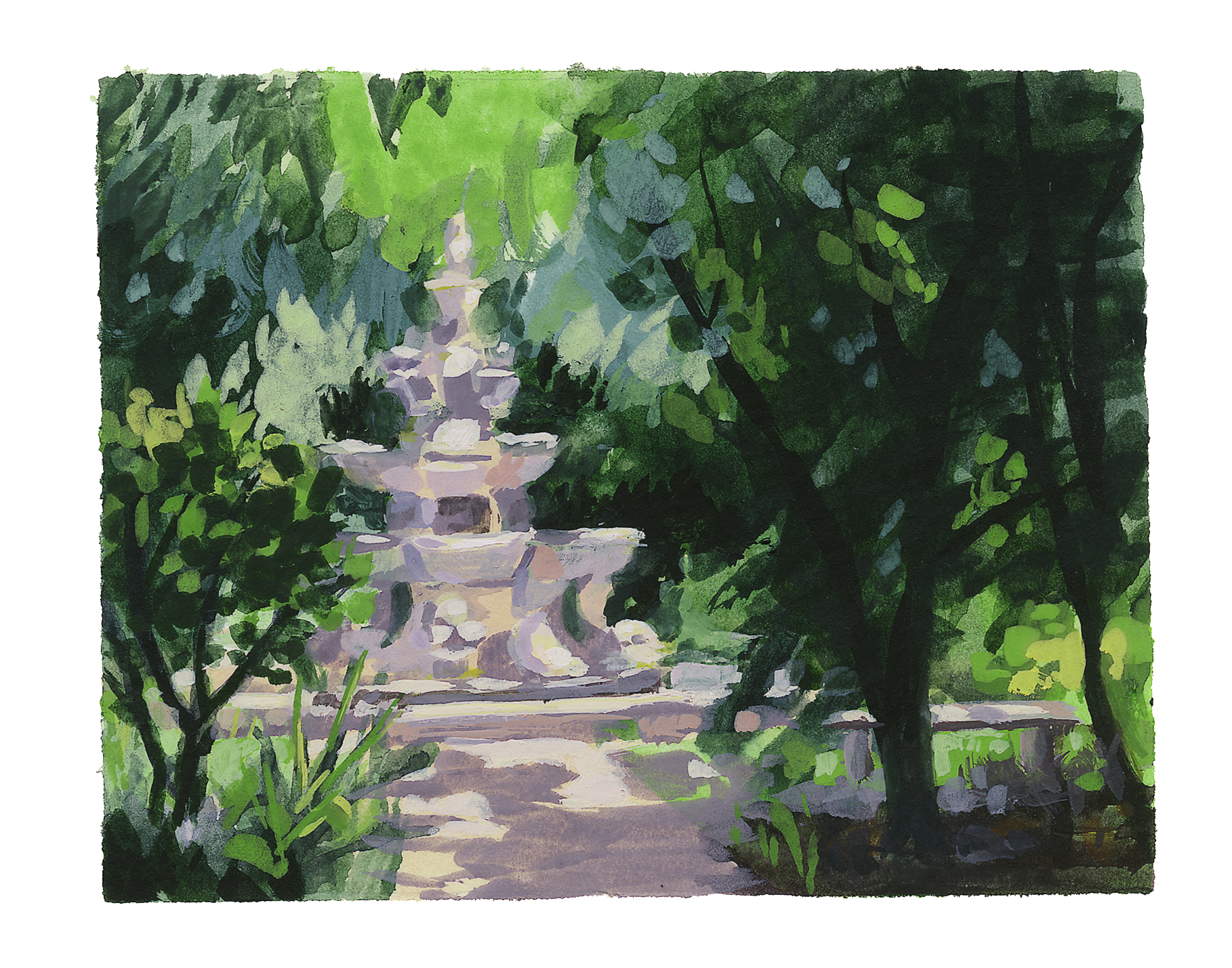 My Small Paintings framed miniature watercolour tiny art of Renaissance fountain at the Huntington Gardens