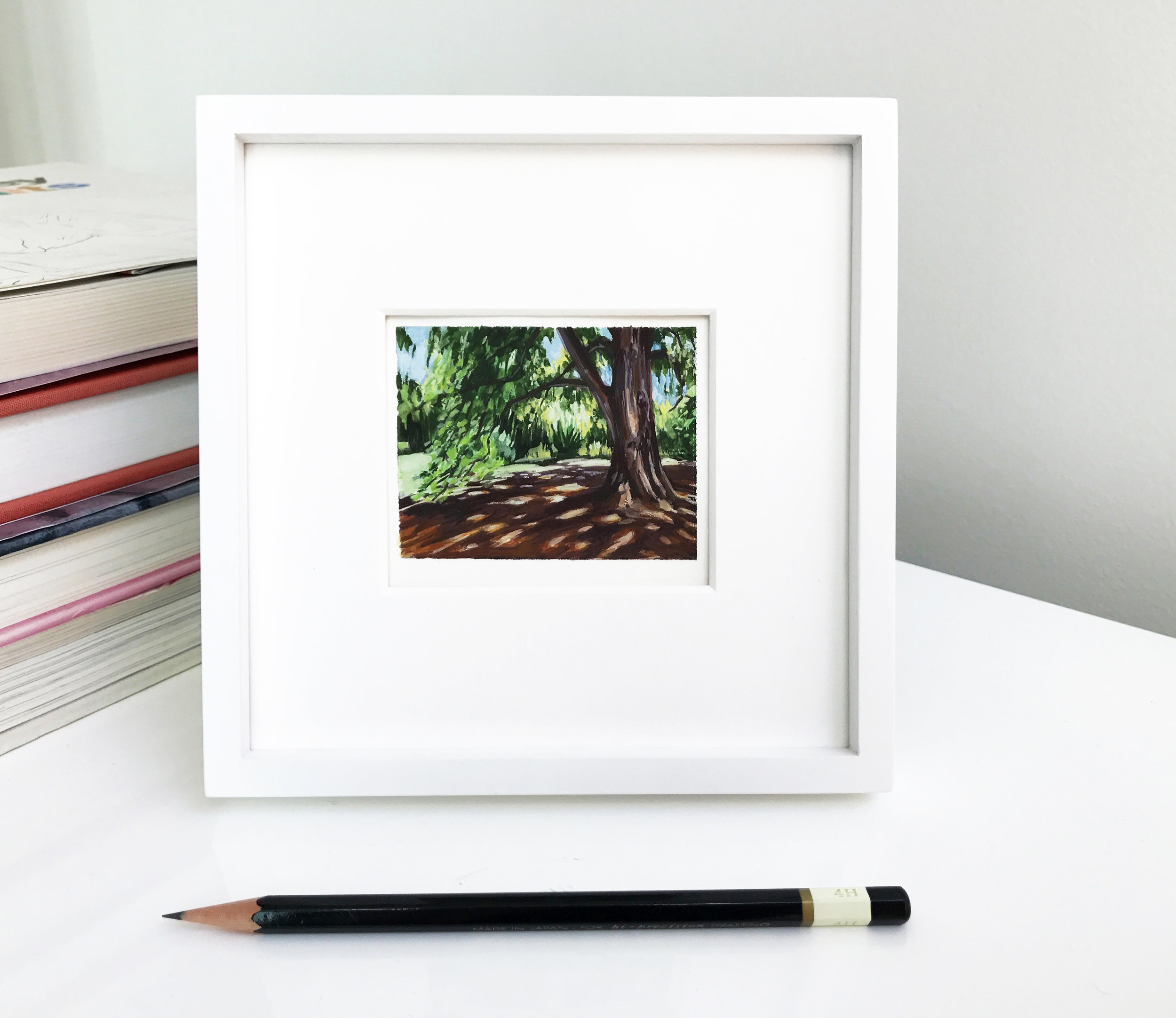 My Small paintings tiny art miniature framed watercolour plein air painting of shady tree with dappled sunlight shadows sunny Huntington Gardens summer