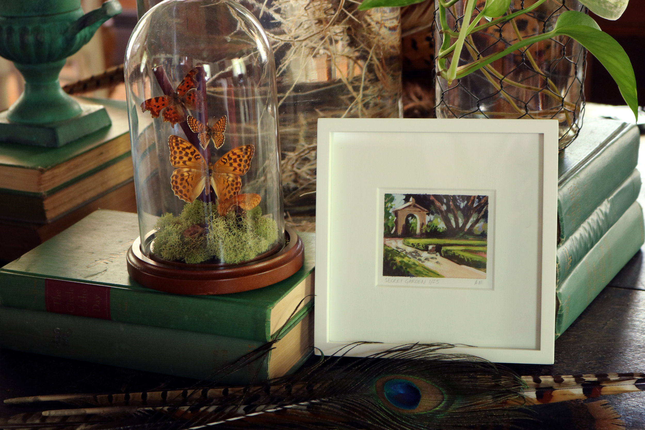 My Small Paintings miniature tiny art plein air framed watercolour painting of secret walled summer garden in Balboa Park San Diego California