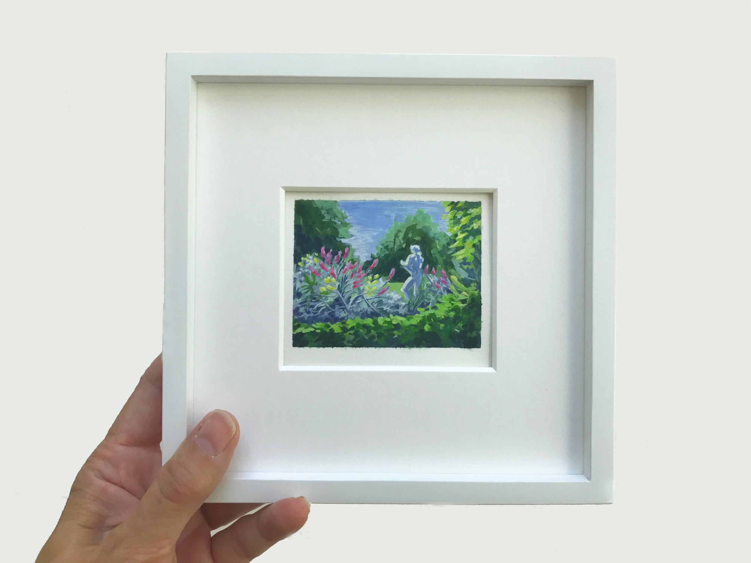 Miniature 2x3 inches plein air painting at The Huntington Gardens, Pasadena, by My Small Paintings